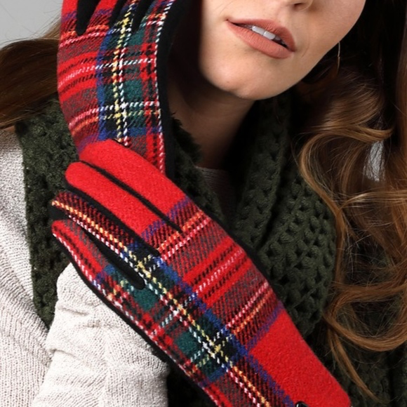 Red Tartan Print Plaid Gloves