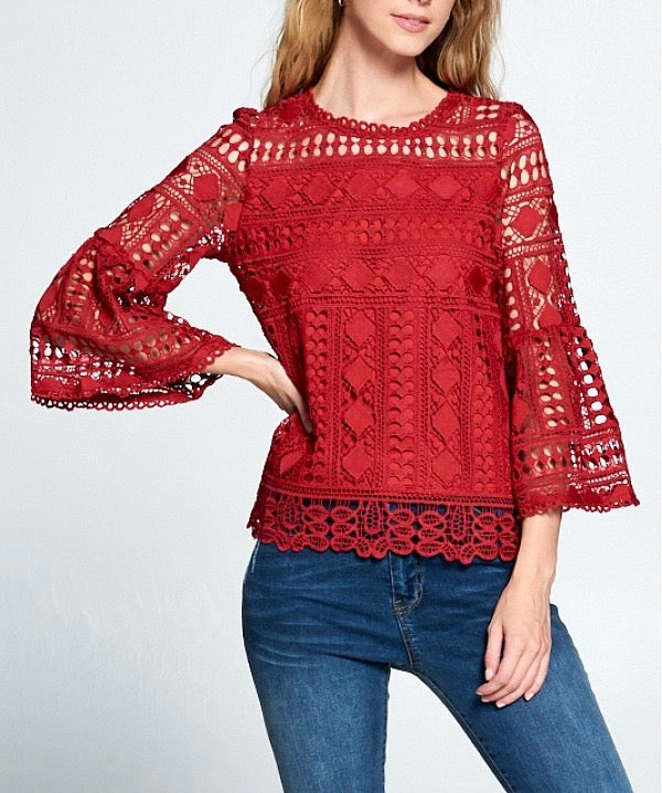 Cranberry Red Lace Bell Sleeve Top ~FINAL SALE!