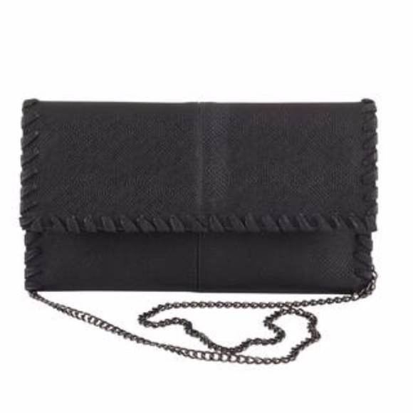 Black Vegan Leather Clutch or Cross-body bag