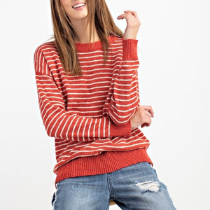 Crimson Striped Pullover Sweater