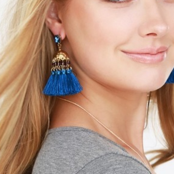 Teal Blue Tassel Earrings