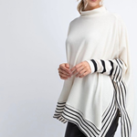 Long Sleeve Poncho with Striped Trim