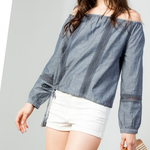 THML Show Me Your Shoulders Chambray Top