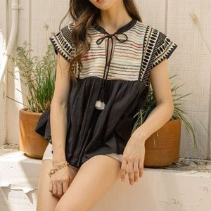 Islander Embroidered Babydoll Top