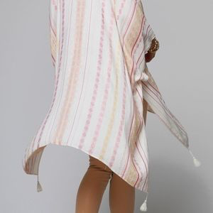 Sandy Striped Kimono with Tassels