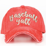Baseball Y'all Embroidered Ball Cap