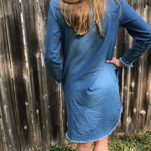 Frayed Bottom Denim Dress