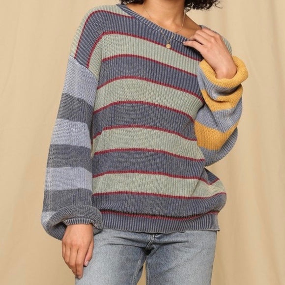 Gracie Bubble Sleeve Striped Sweater