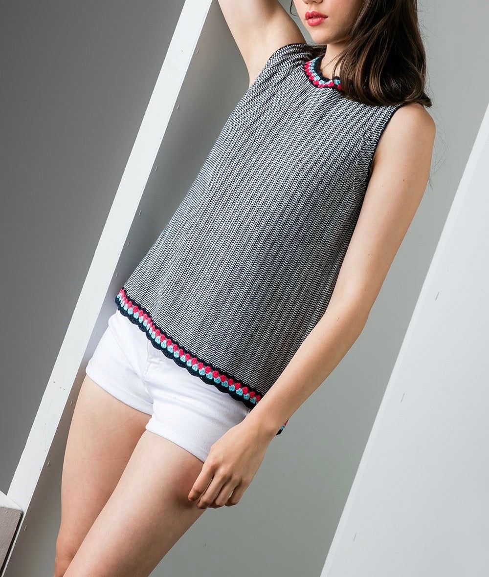 Cabby Crochet Collar Knit Top by THML