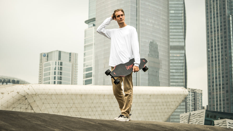 A man with LycaonBoard Electric Skatebaord