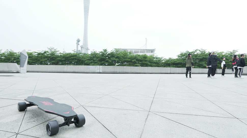 An Electric Skateboard in the city square