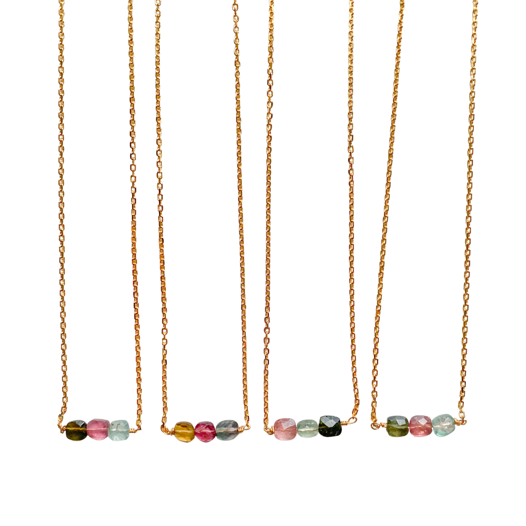 Multi-Colored Faceted Tourmaline Necklaces