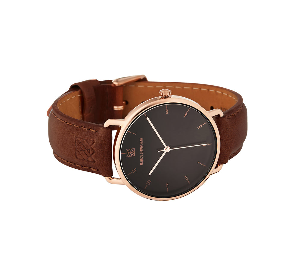 Black / Rose Gold Alice Watch with Tobacco Leather Strap