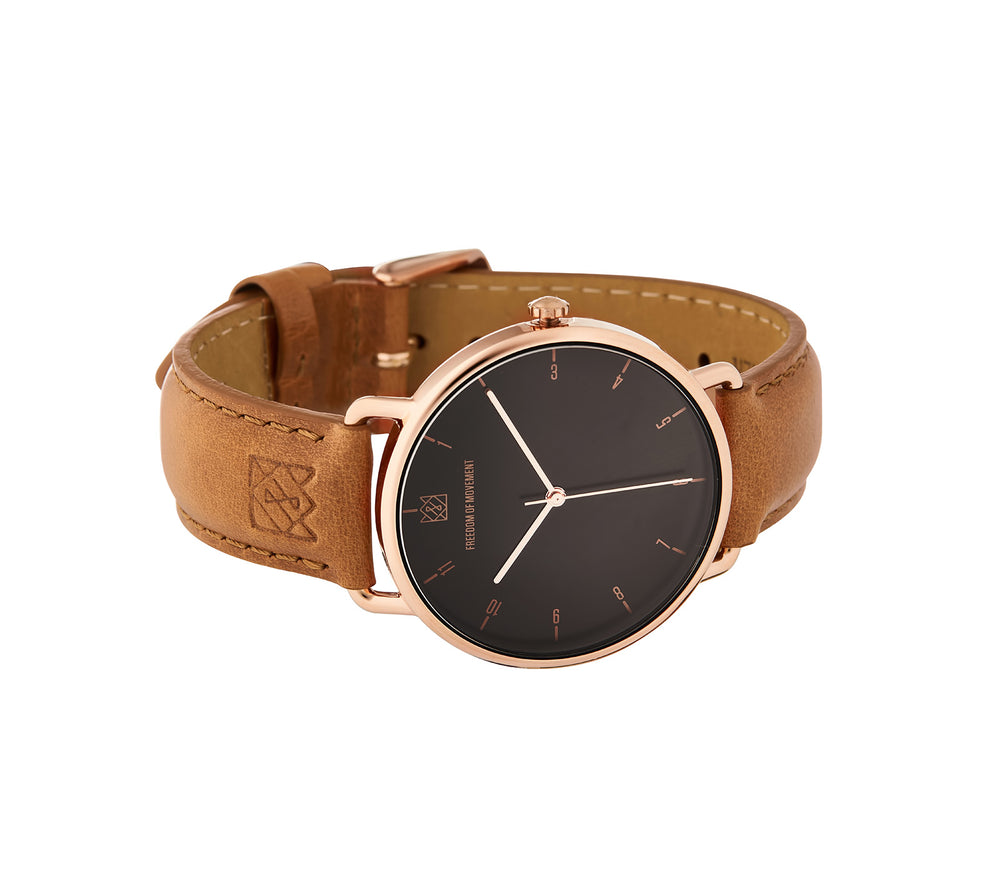 Black / Rose Gold Alice Watch with Tan Leather Strap