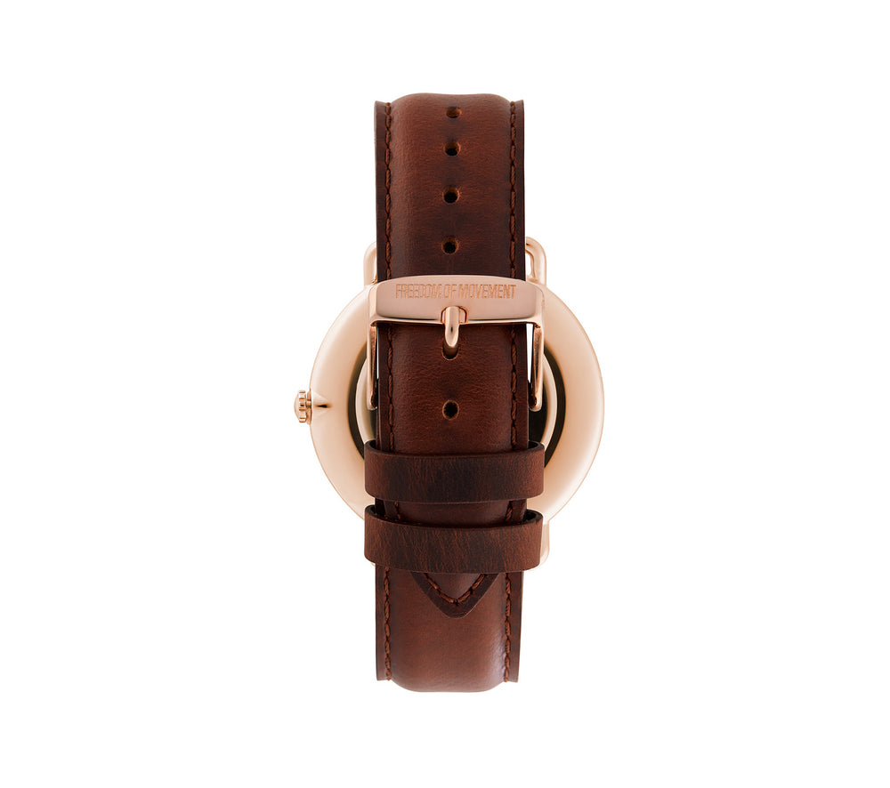 Black / Rose Gold Alice Watch with Black Leather Strap