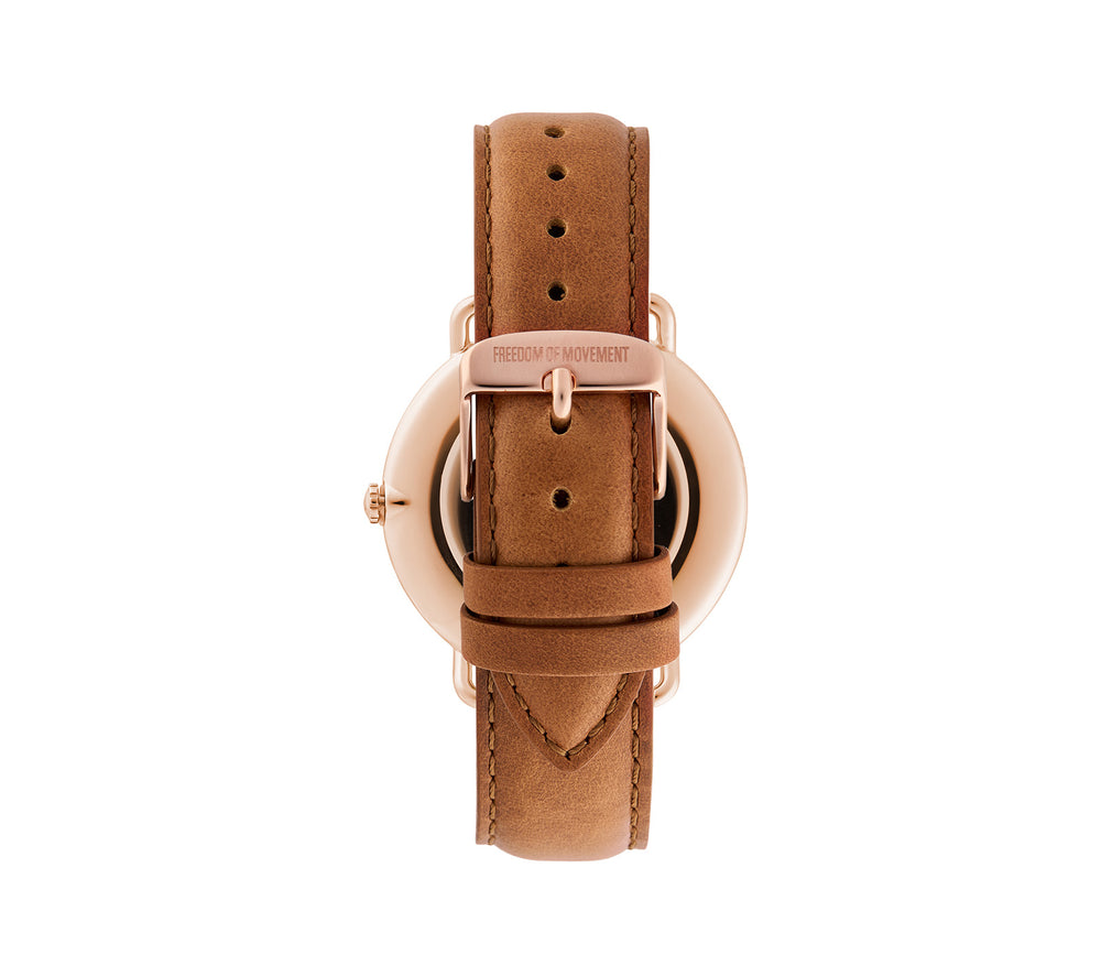 White / Rose Gold Alice Watch with Natural Leather Strap
