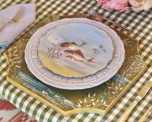Reed and Fowl Sollevare/Charger is elegantly hand painted  of compliment any style of china.