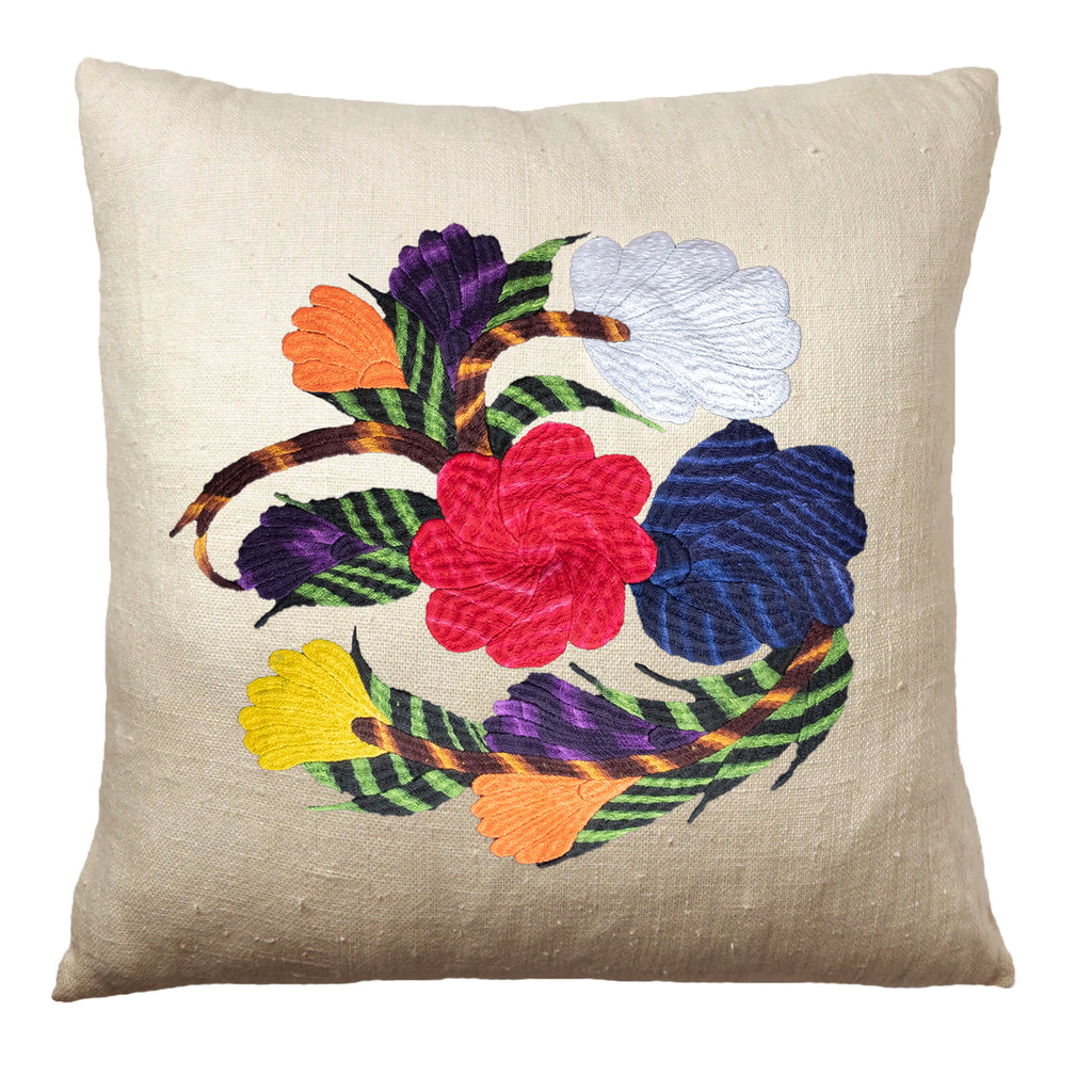 Unity flower pillow on natural linen