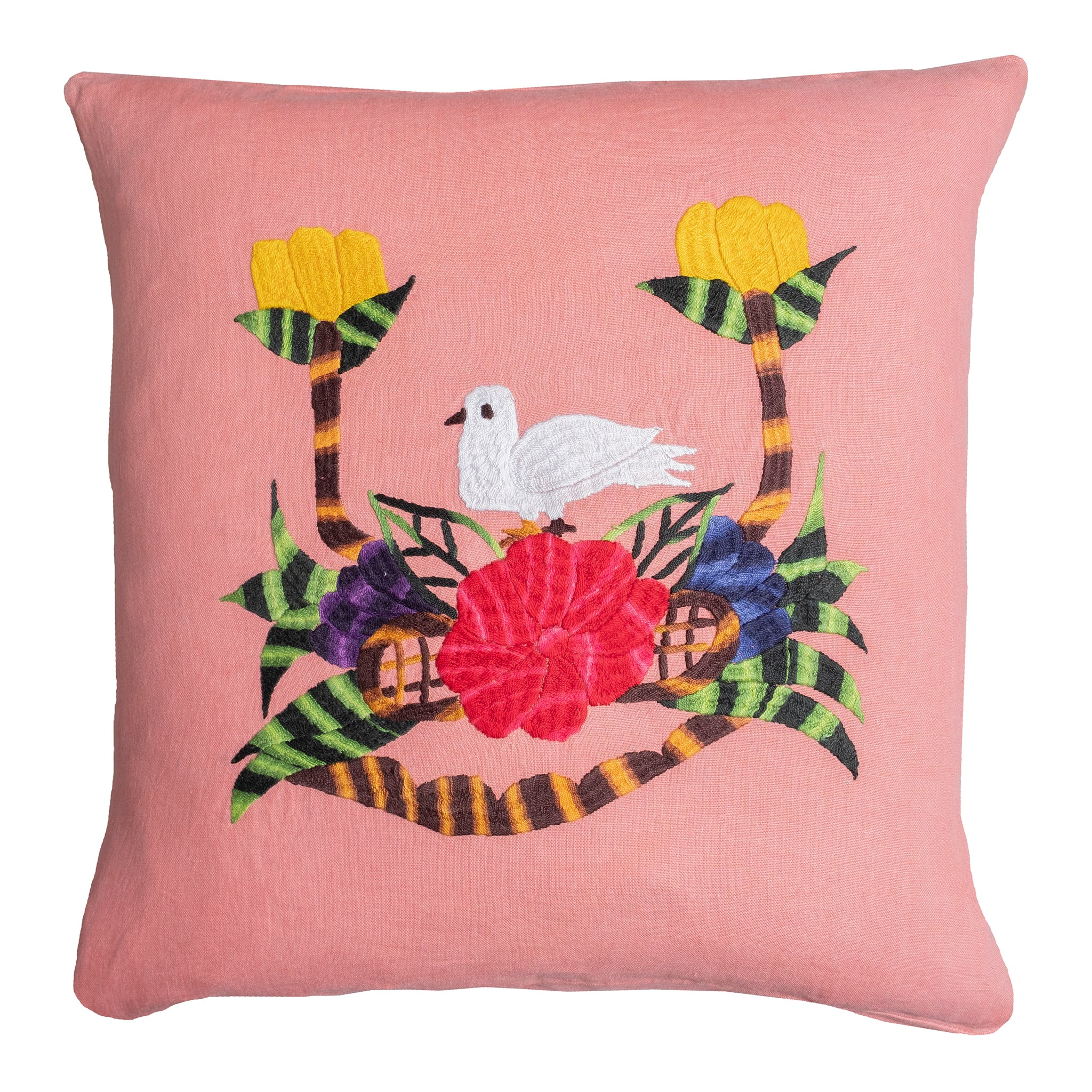 Dove pillow on pink linen