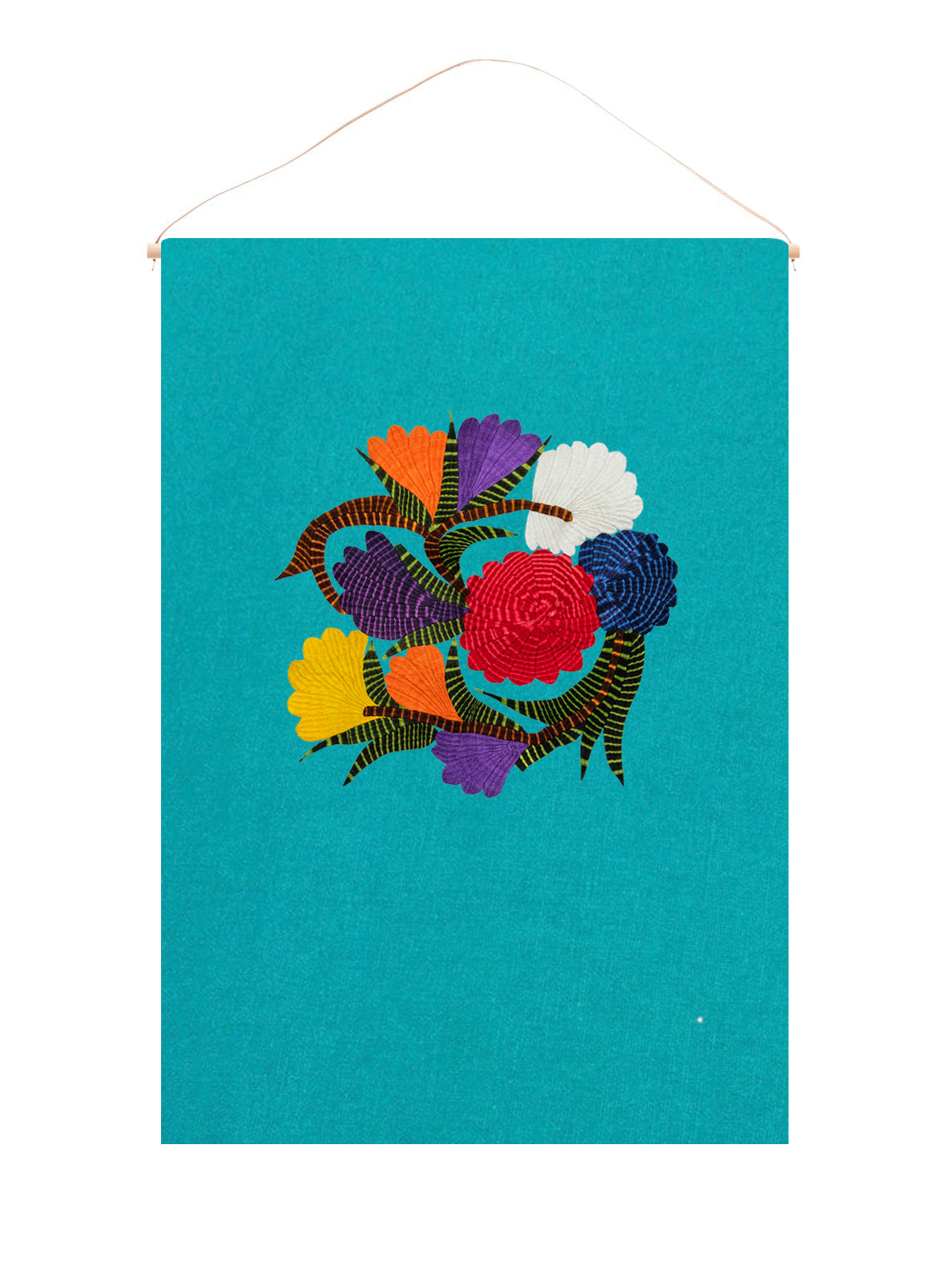 Unity flower wall hanging on blue linen