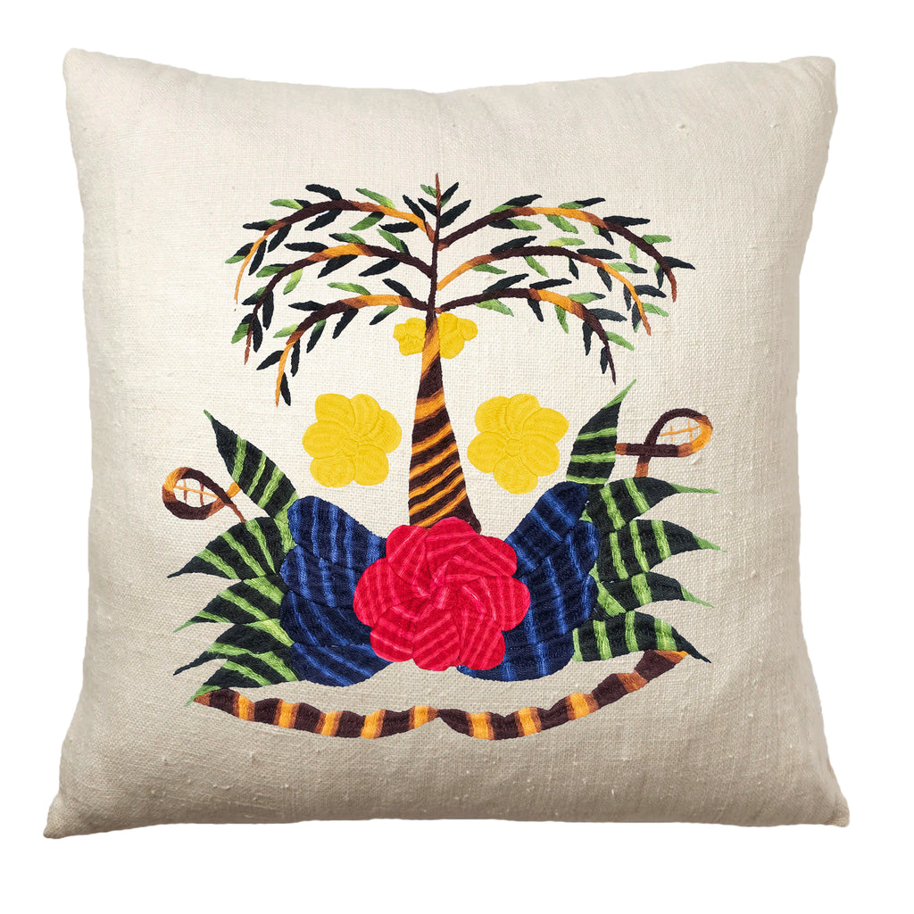 Tree pillow on white linen