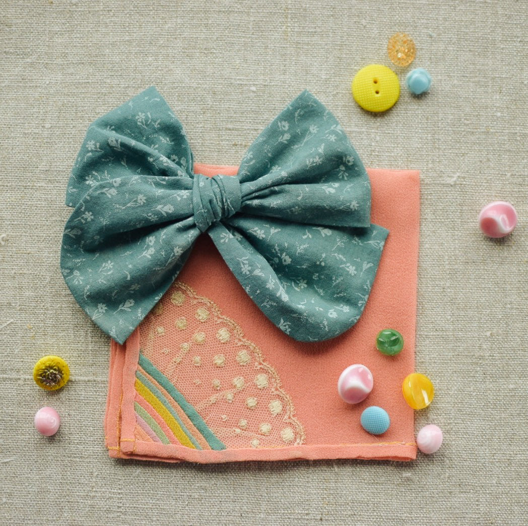 Cotton Lawn Dobby Spot Bow // Sea Glass