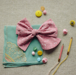 Cotton Lawn Dobby Spot Bow // Carnation