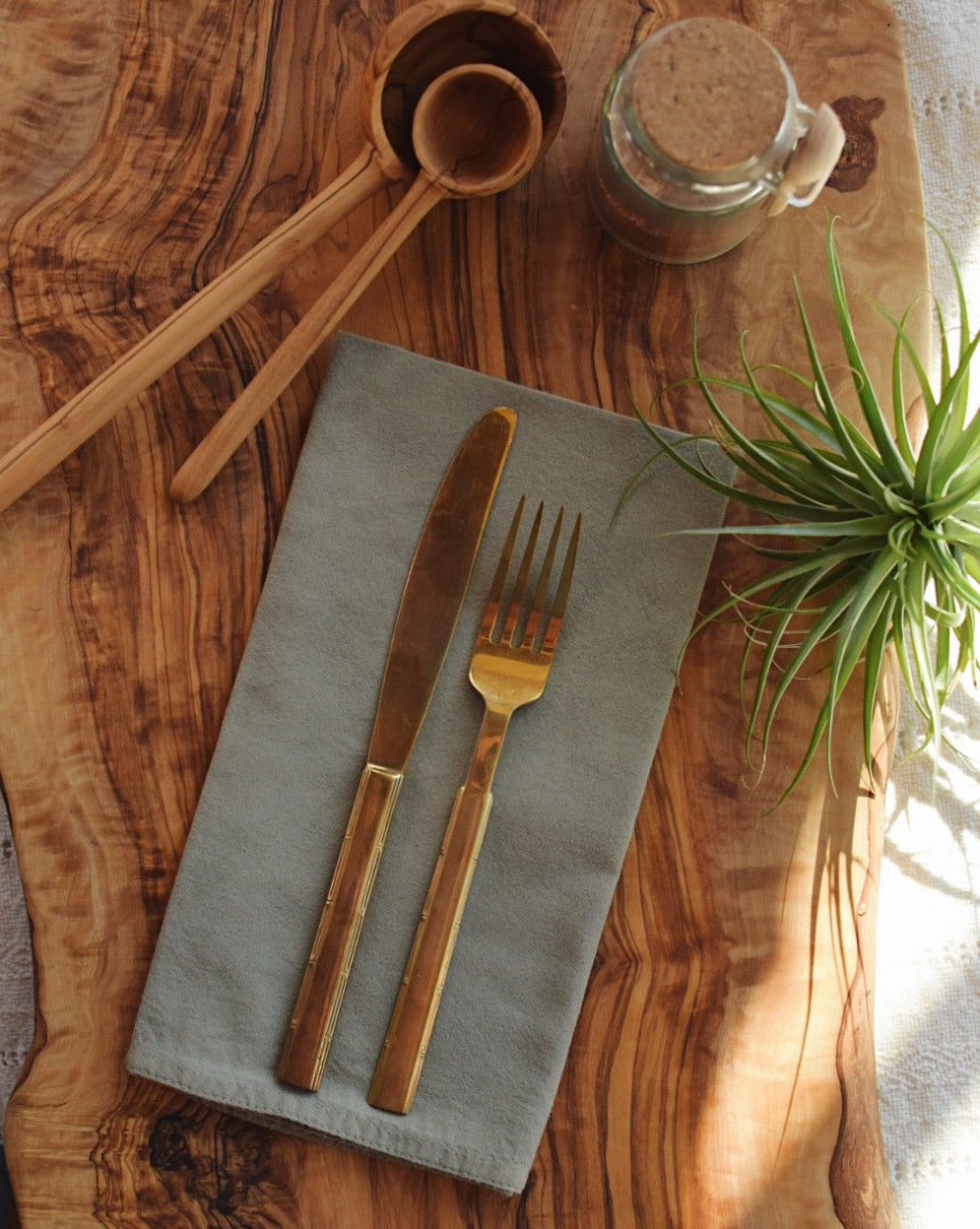 Organic Cotton Napkin set of Six // Olive