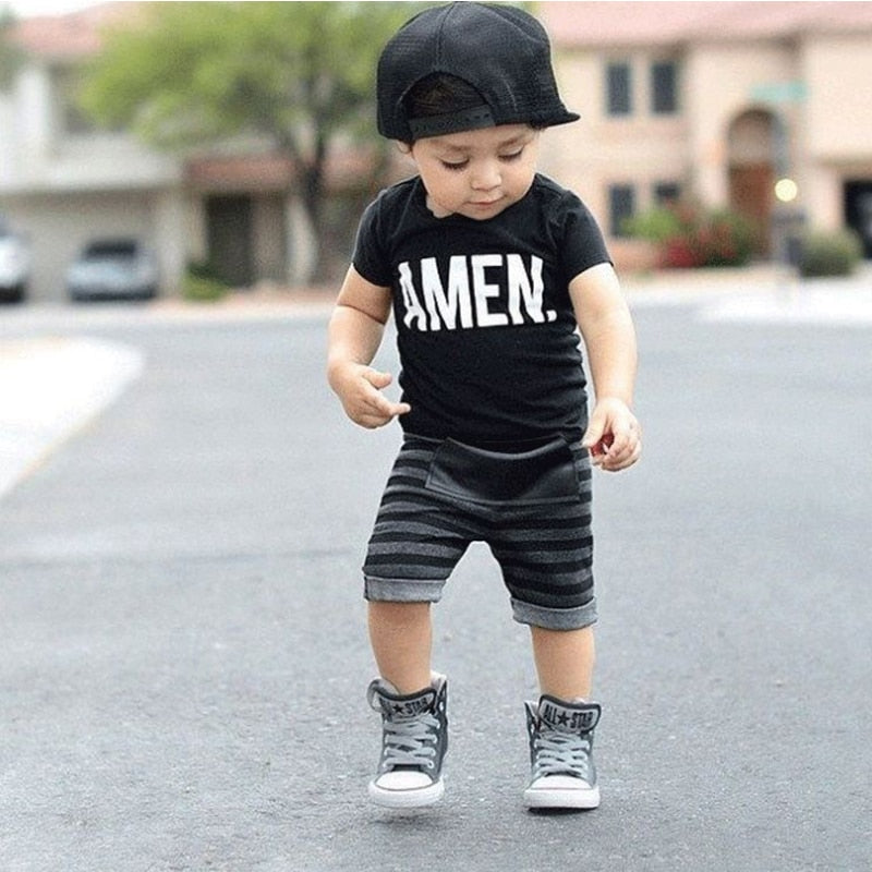 USA Toddler Kids Baby Boys Tops T-shirt Stripe Pants Outfits Set Clothes 1-5T