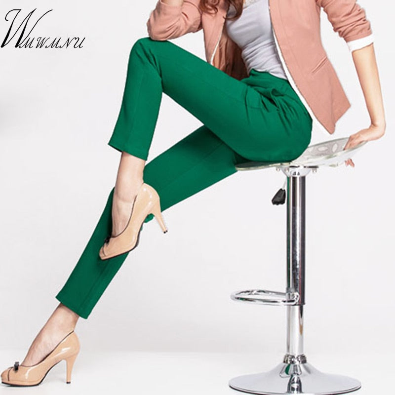 Womens Casual Office Pencil Trousers Girlss Cute 12 Colour Slim Stretch Pants Candy Jean,