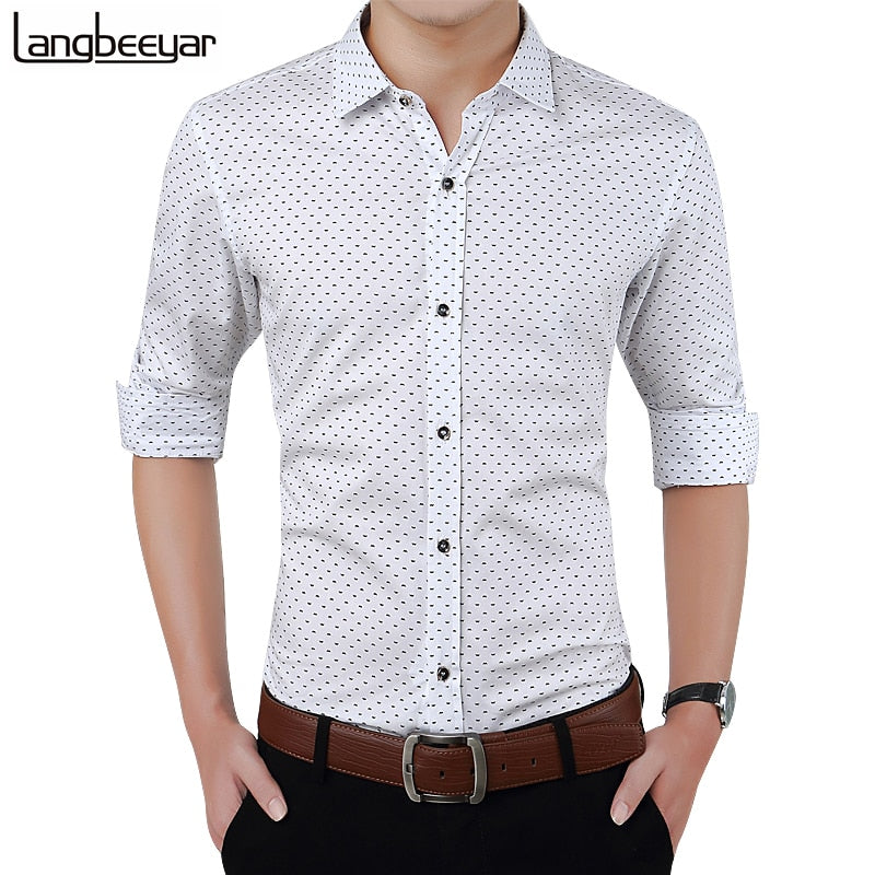 6d9064307 New Autumn Fashion Brand Men Clothes Slim Fit Men Long Sleeve Shirt Men  Polka Dot Casual
