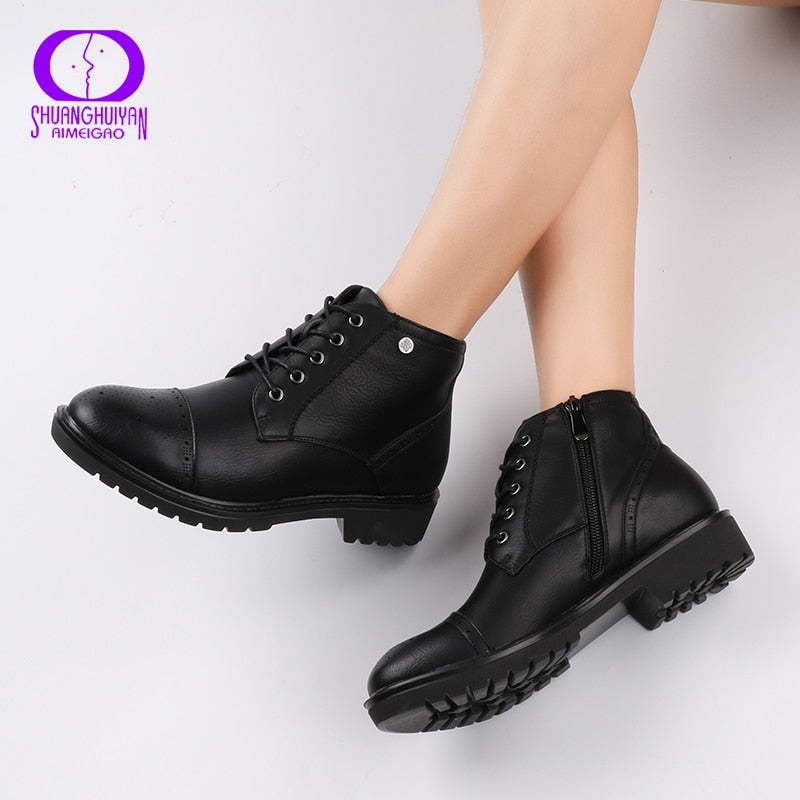 22d7ed21220 AIMEIGAO Fashion Vintage Women Ankle Boots Soft Leather Flat Shoes  Comfortable Women Boots Lace Up Soft Leather Classic Shoes