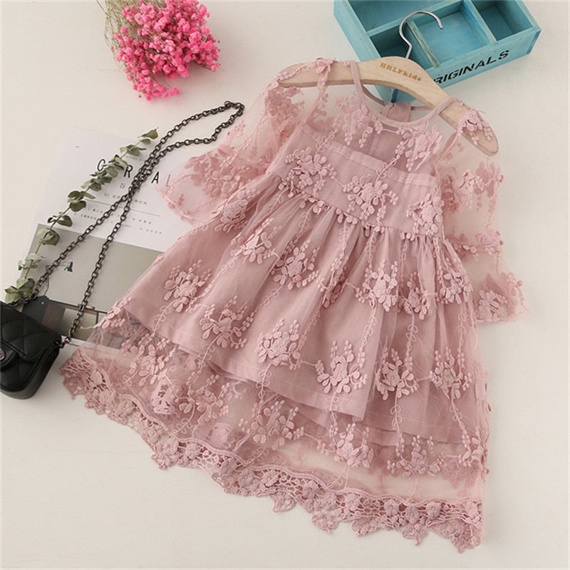 US Summer Infant Kid Baby Girls Floral Lace Clothes Dress Clothing Skirt Dresses
