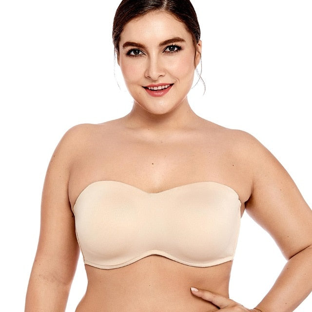 a3f07d0b4bd Delimira Women s Full Coverage Smooth Seamless Invisible Underwire  Minimizer Strapless Bra Plus Size