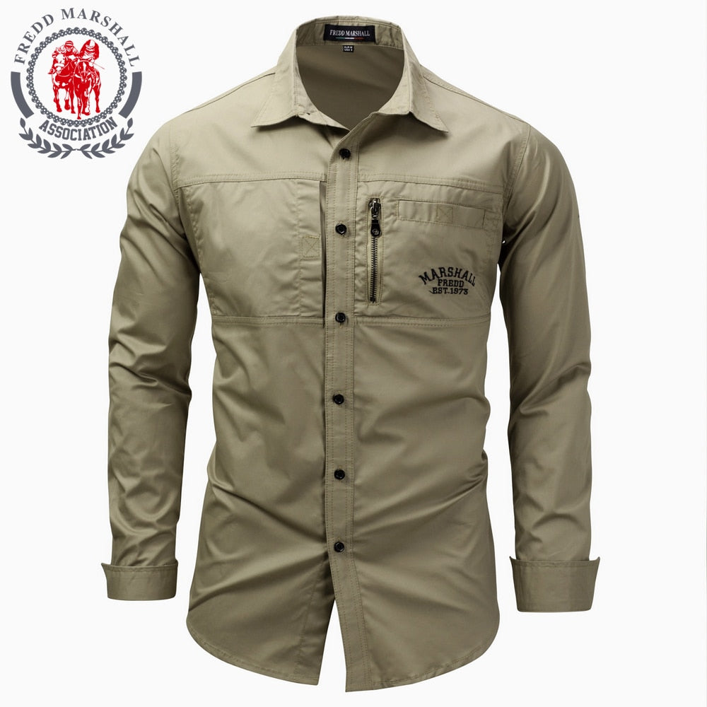 Fredd Marshall New Men's Long sleeved Lapel Zipper Shirt Cotton Military Leisure Shirt Brand Mens Casual Shirt Plus Size