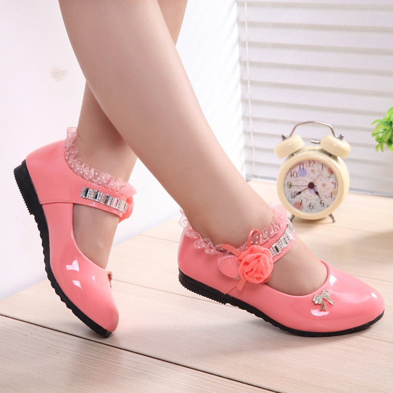 Hot Spring Rhinestone Big Girls Shoes with Rose Flower Fashion Princess Slip on Children Flat Shoes for Girls Shoes Size 6 13