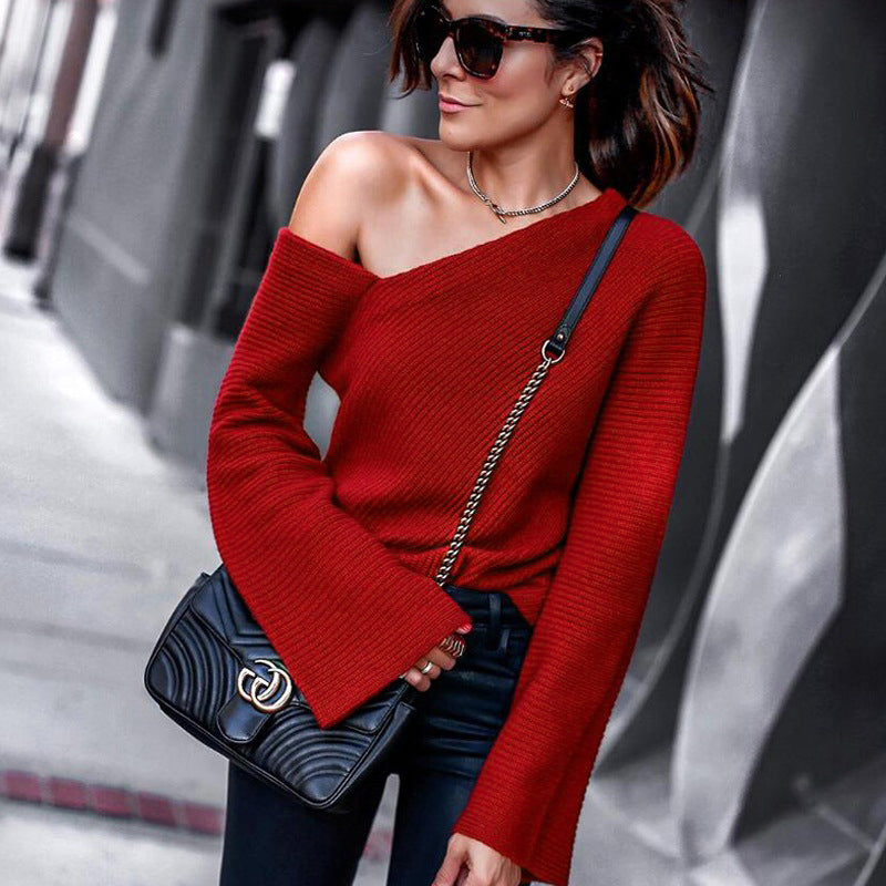 Sexy Women off shoulder knitted sweater elegant solid Office Lady pullover  and sweater 2019 Spring Autumn e77226805