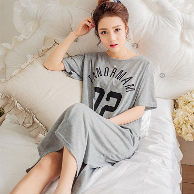 Sleep Dress Women Cotton Nightgown Short Sleeve Summer Nightdress Lingerie  Cute Rabbit Casual Lounge Sleepwear Sleepshirts d3ccd507d