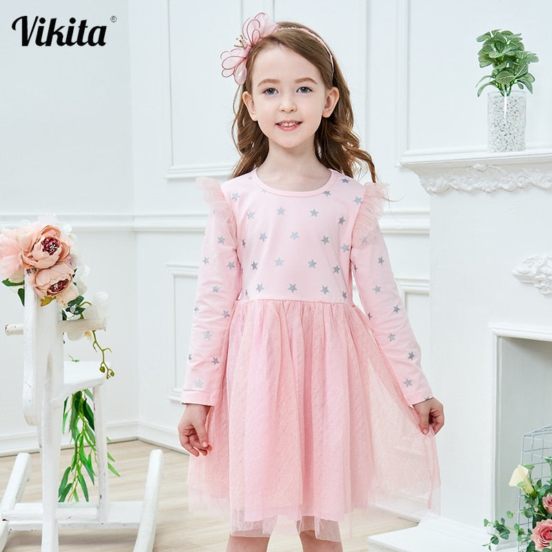 US Toddler Infant Baby Girl Clothes Long Sleeve Dress Tutu Casual Solid Dresses