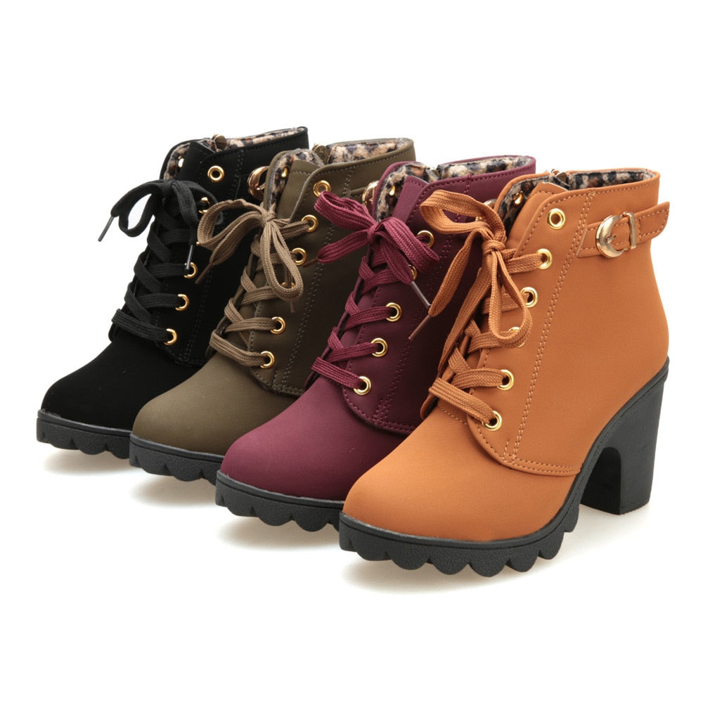 latest lowest price exclusive shoes Womens Boots Fashion High Heel Lace Up Ankle Boots Ladies Buckle ...