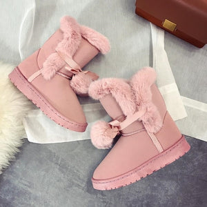 Womens Winter Warm Platform Flat Faux suede Midcalf snow Boots Casual shoes Size