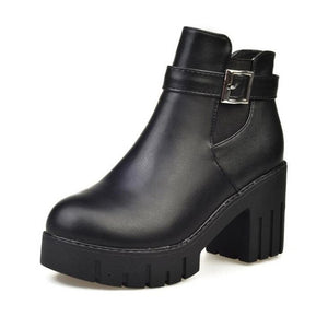 e051cfe710c 2019 Platform Heels Women Ankle Boots Soft Leather Thick high Heel ...