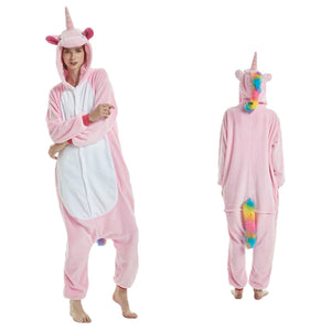 Unisex Adult Animal Onesie Pajamas Pink Pegasus Kigurumi Cosplay Costume CMD105 - cosplaymadness