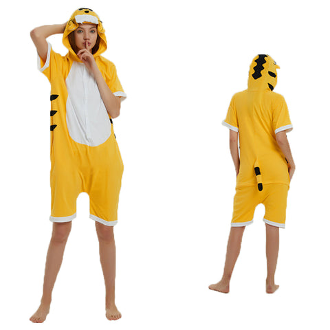 Unisex Adult Summer Animal Pajamas Tiger Cosplay Costume CMD117 - cosplaymadness