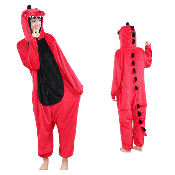 Unisex Red Dinosaur Kigurumi Animal Onesie Pajamas Cosplay Costume  CMD018-RD - cosplaymadness