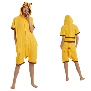 Unisex Adult Summer Animal Pajamas Pikachu Cosplay Costume CMD118 - cosplaymadness