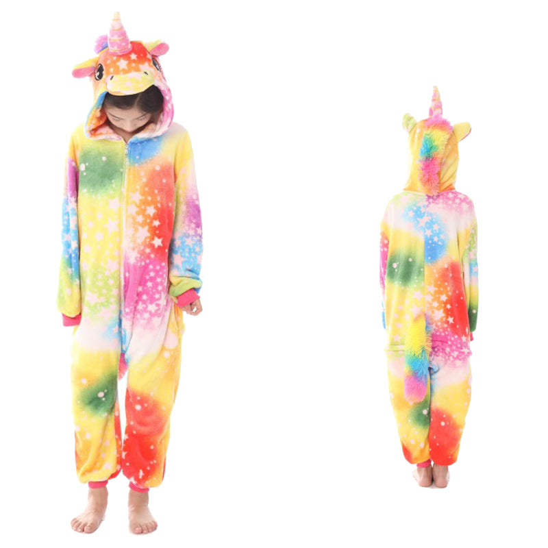 Unisex Kids Animal Pajamas Colorful Unicorn/Pegasus Cosplay Costume CMD125 - cosplaymadness