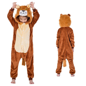 Unisex Kids Animal Pajamas Lion Cosplay Costume CMD129 - cosplaymadness