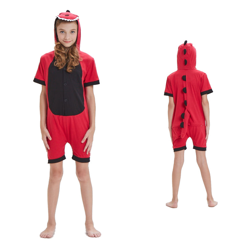 Kids Summer Animal Pajamas Red Dinosaur Cosplay Costume CMD143
