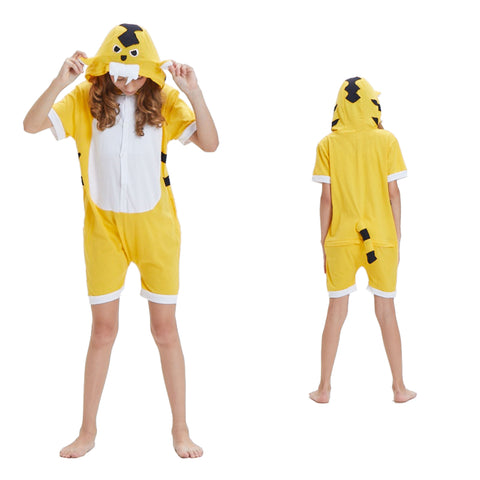Kids Summer Animal Pajamas Yellow Tiger Cosplay Costume CMD135